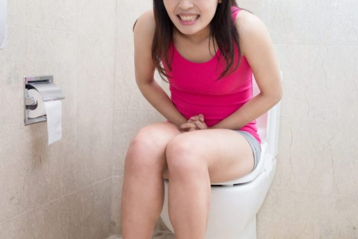 constipation sitting at bath room